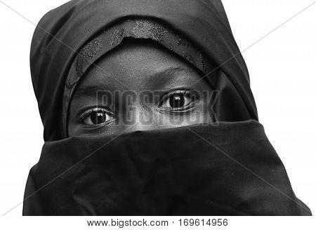Black and White African Arab Muslim School Girl with big Eyes