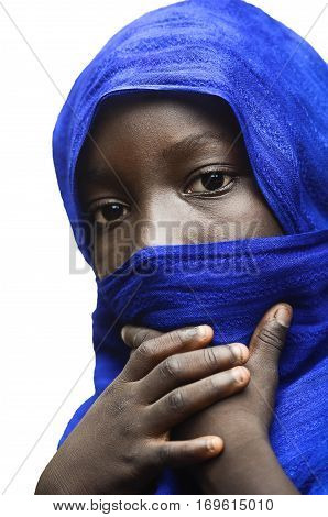 Beauty of Africa Veiled by a Blue Typical Arab Clothing (Tuareg)