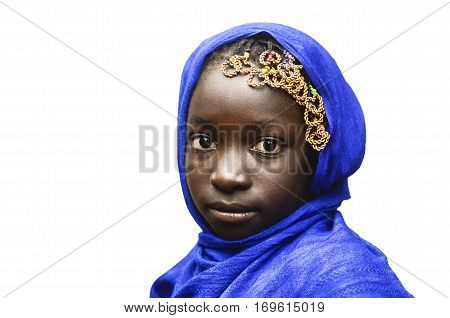 Isolated African Little School Girl Portrait Outdoors with Blue Headscarf