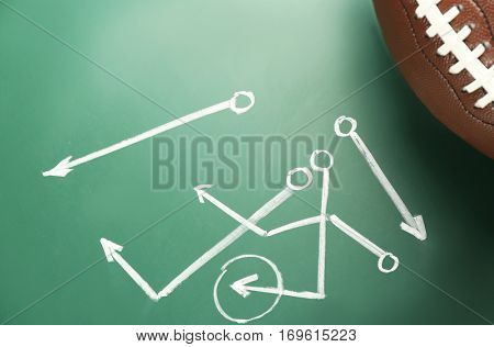 Scheme of American football game and ball on blackboard background