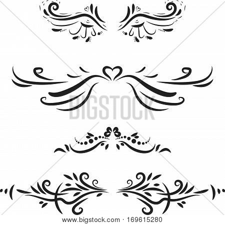 Flourish swirl ornate decoration for wedding cards, in invitations, save the date cards, postcard, menu, romantic style.