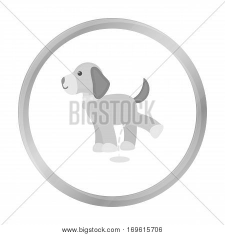 Pissing dog vector illustration icon in monochrome design