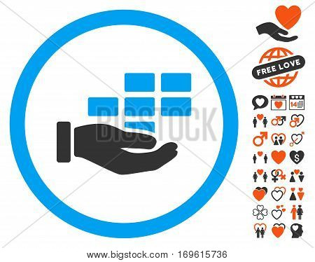 Service Schedule icon with bonus love pictures. Vector illustration style is flat iconic elements for web design app user interfaces.