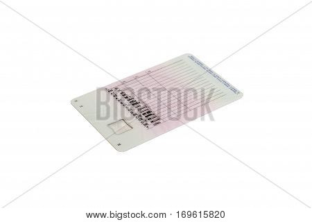 Driver's license isolated on white background.. Plastic card.