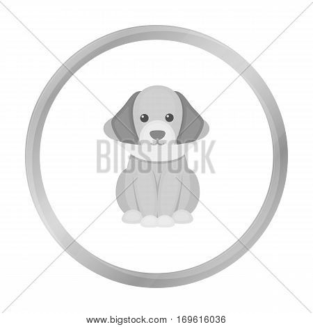 Sick dog vector illustration icon in monochrome design