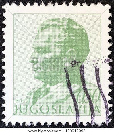 YUGOSLAVIA - CIRCA 1974: A stamp printed in Yugoslavia shows President Tito, circa 1974.