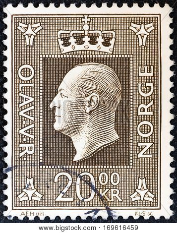 NORWAY - CIRCA 1969: A stamp printed in Norway shows King Olav V, circa 1969.