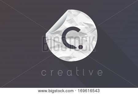 C Letter Logo with Crumpled And Torn Wrapping Paper Texture Vector.
