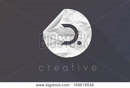 D Letter Logo with Crumpled And Torn Wrapping Paper Texture Vector.