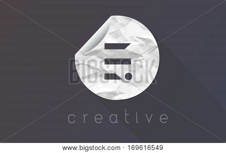 E Letter Logo with Crumpled And Torn Wrapping Paper Texture Vector.