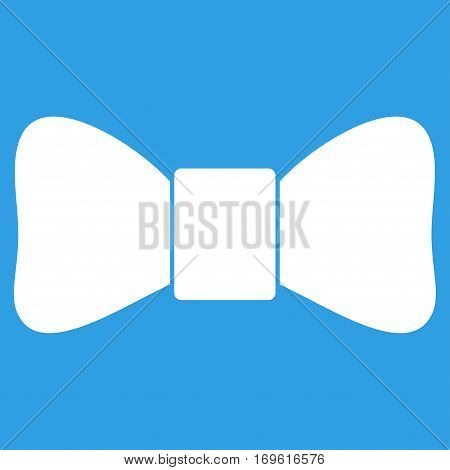 Bow Tie flat icon. Vector white symbol. Pictograph is isolated on a blue background. Trendy flat style illustration for web site design logo ads apps user interface.