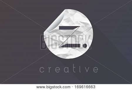 Z Letter Logo with Crumpled And Torn Wrapping Paper Texture Vector.