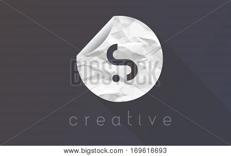 S Letter Logo with Crumpled And Torn Wrapping Paper Texture Vector.