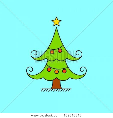 Hand drawn christmas tree on blue background