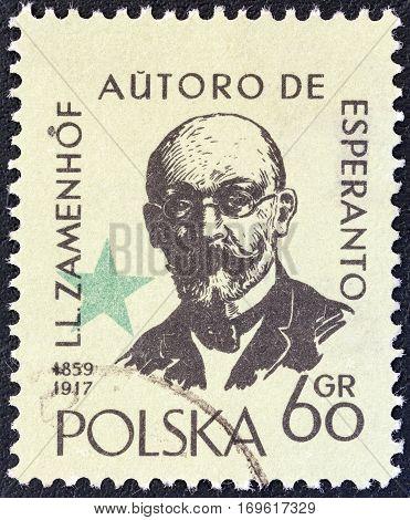 POLAND - CIRCA 1959: A stamp printed in Poland issued for the International Esperanto Congress, Warsaw and birth centenary of Dr. L. Zamenhof shows inventor of Esperanto Ludwig Zamenhof, circa 1959.