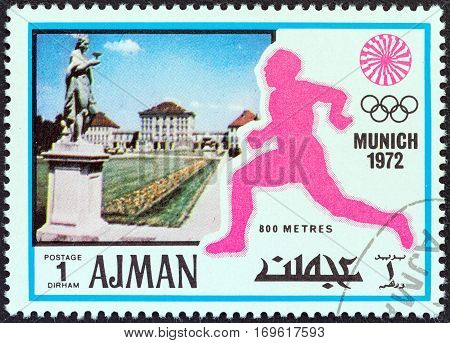 AJMAN EMIRATE - CIRCA 1972: A stamp printed in United Arab Emirates from the
