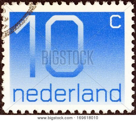 NETHERLANDS - CIRCA 1976: A stamp printed in the Netherlands shows numeral ordinary gum, circa 1976.