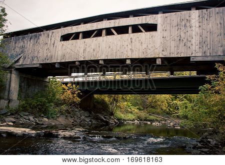 Wooden covered bridge Vermont  in the United States