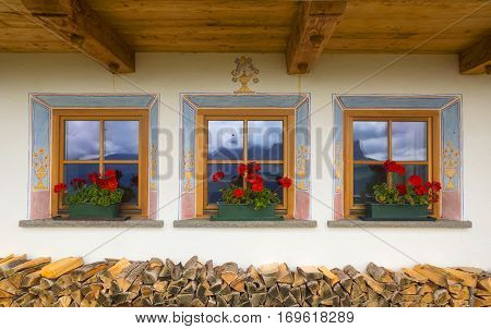 Three Beautiful Windows In Small Alpine Country House
