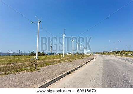 big turbine which generate electricity for industry along the road in Thailand