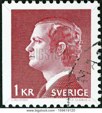 SWEDEN - CIRCA 1974: A stamp printed in Sweden shows King Carl XVI Gustaf, circa 1974.