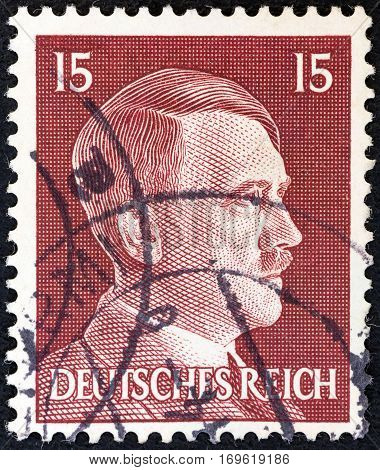 GERMANY - CIRCA 1941: A stamp printed in Germany shows Adolph Hitler, circa 1941.