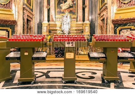 Turin Italy - January 2 2016: Interior of Santuario della Consolata in Turin Italy. It is a prominent Marian sanctuary and minor basilica in central Turin Piedmont Italy.