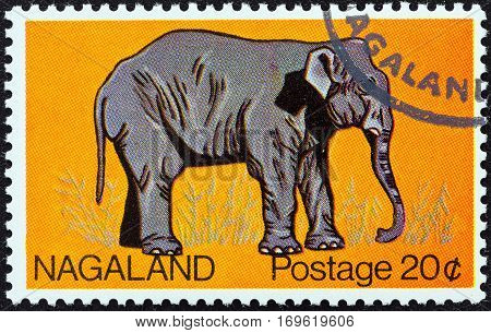 NAGALAND STATE - CIRCA 1969: A stamp printed in India shows an Elephant, circa 1969.