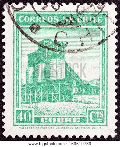 CHILE - CIRCA 1938: A stamp printed in Chile shows Copper mine, circa 1938.