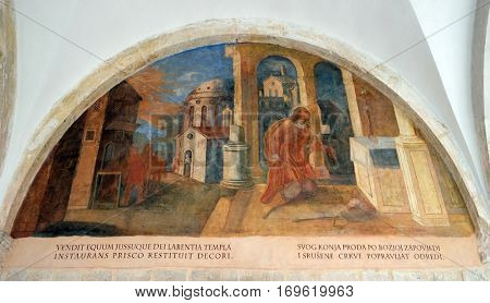 DUBROVNIK, CROATIA - DECEMBER 01: The frescoes with scenes from the life of St. Francis of Assisi, cloister of the Franciscan monastery of the Friars Minor in Dubrovnik, Croatia on December 01, 2015.