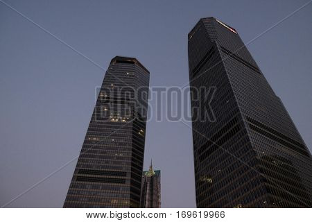 SHANGHAI - FEBRUARY 29: Shanghai world financial center skyscrapers in lujiazui group in Shanghai, China, February 26, 2016.