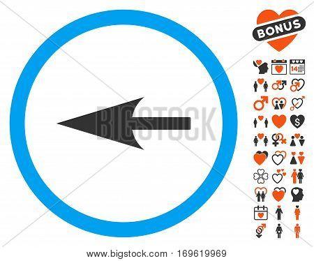 Sharp Left Arrow pictograph with bonus romantic icon set. Vector illustration style is flat iconic symbols for web design app user interfaces.