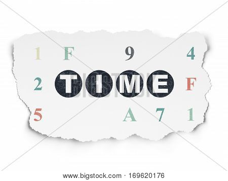 Timeline concept: Painted black text Time on Torn Paper background with  Hexadecimal Code