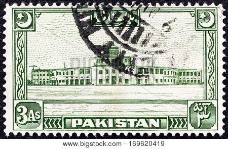 PAKISTAN - CIRCA 1949: A stamp printed in Pakistan shows Karachi Airport, circa 1949.