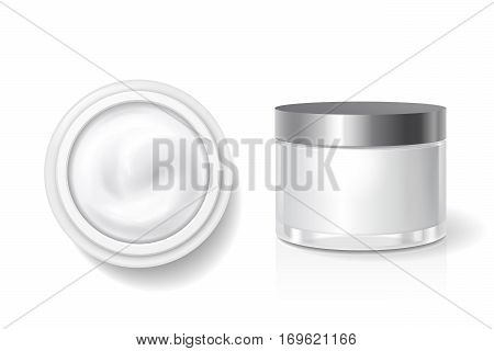 Blank packaging of cream, butter for skin care, White cosmetic jar with silver lid vector template. Top and side view.