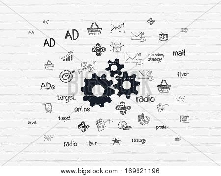Advertising concept: Painted black Gears icon on White Brick wall background with  Hand Drawn Marketing Icons