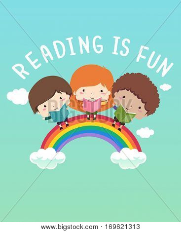 Illustration of Cute Little Kids Reading Books on Top of a Rainbow Saying Reading is Fun