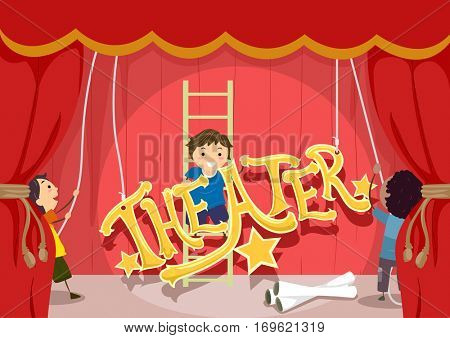 Stickman Illustration Featuring Preschool Kids Setting Up the Stage for a Theatrical Performance