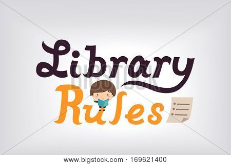 Illustration of a Cute Little Boy Reading a Book Enumerating a List of Library Rules poster