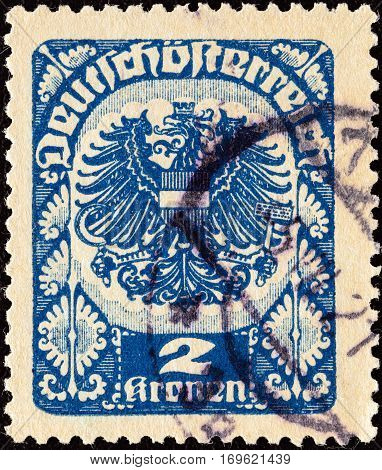 AUSTRIA - CIRCA 1920: A stamp printed in Austria shows Republican Arms, circa 1920.