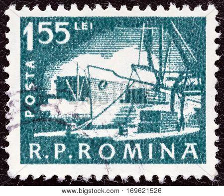 ROMANIA - CIRCA 1960: A stamp printed in Romania shows a Dock scene, circa 1960.