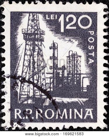 ROMANIA - CIRCA 1960: A stamp printed in Romania shows Petroleum refinery, circa 1960.