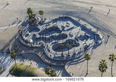 Los Angeles, California, USA - December 17, 2016:  Aerial of popular skateboard park at Venice Beach in Southern California.