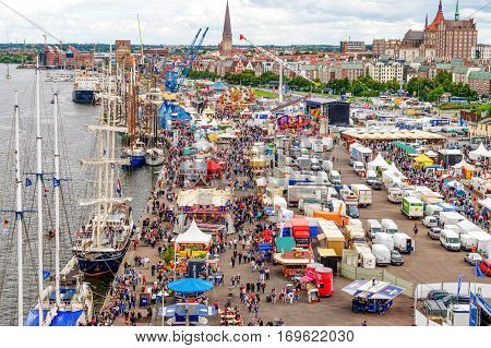 Rostock, Germany - August 2016: lots of sailing ship on Hanse Sail and Hanse Sail markt. Aerial photography