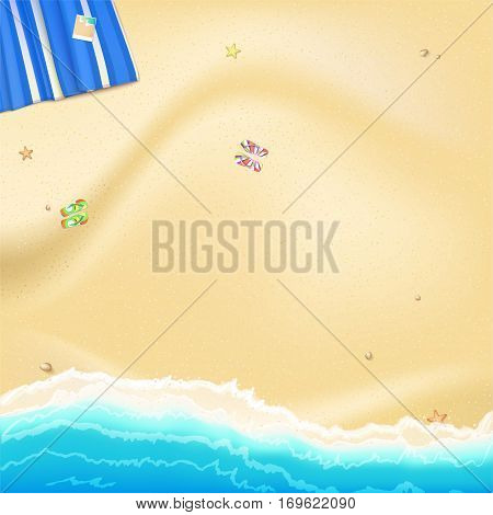 Coast of sea, ocean with yellow, Golden sand scattered along the shore rocks and sea stars. Blue beach Mat with photo and rubber Slippers. Surf, top view, background for summer greetings cards