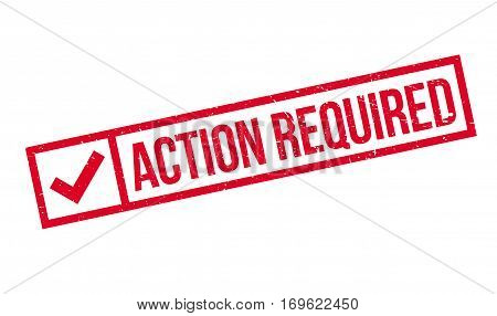 Action Required rubber stamp. Grunge design with dust scratches. Effects can be easily removed for a clean, crisp look. Color is easily changed.