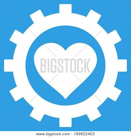 Love Heart Options Gear flat icon. Vector white symbol. Pictograph is isolated on a blue background. Trendy flat style illustration for web site design logo ads apps user interface.
