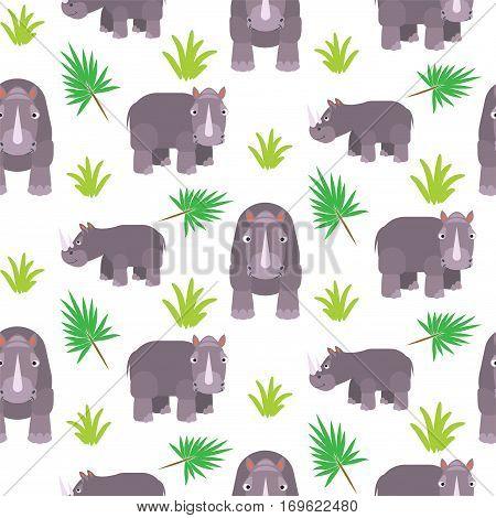 Rhinoceros cartoon vector seamless pattern. Savannah wild zoo animal background.