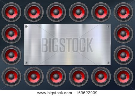 Audio speakers, subwoofers, wall of sound loudspeaker with red diffuser isolated on dark background. Metallic banner with copy space, place for your text.