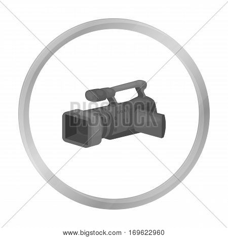Camcorder icon in monochrome style isolated on white background. Event service symbol vector illustration.